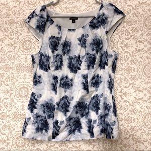 Ann Taylor silk blend cap sleeve floral blouse